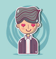 man lover with hairstyle design vector image vector image