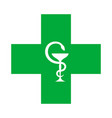 medical cross with the bowl of hygeia vector image vector image