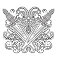 medieval sword and decorative baroque ornament vector image
