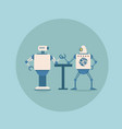 modern robots playing arm wrestling concept vector image vector image