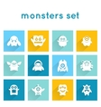 monster icons set vector image vector image