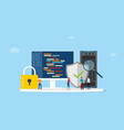 network programming security concept with code vector image vector image