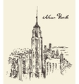 New York city architecture vintage drawn vector image vector image