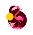 pink flamingo isolated on white vector image