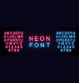 realistic neon english alphabet vector image