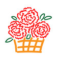 roses in basket sign 2412 vector image vector image