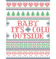 seamless christmas pattern baby its cold outside vector image vector image