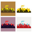 set of icons - the silhouette of the city in a vector image vector image