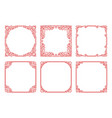 set of red square frames in linear art deco vector image