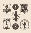 Set of vintage fitness emblem logo icons vector image