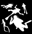 silhouette of a diver in different poses vector image vector image