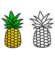 simple pineapple icon coloured black and white vector image