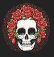 skull in wreath rose flowers tattoo vector image