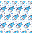 Space seamless pattern with rockets and stars