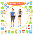 sport and diet icons and lady vector image