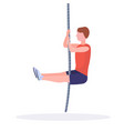sporty man doing rope climbing exercise guy vector image vector image