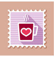 tea cup with heart and steam thin line stamp vector image