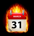 thirty-first march in calendar burning icon on vector image vector image