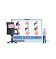 tiny company boss character at huge laptop vector image