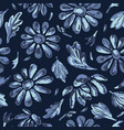 title indigo blue flower daisy seamless vector image