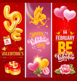 valentines day vertical banners set vector image vector image