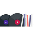 vinyl records in packs and without icon flat vector image