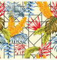 vivid exotic plants seamless abstract background vector image