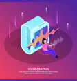 voice control isometric background vector image vector image