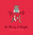 christmas decoration socks cute owl cartoon card vector image