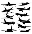 flight aviation icons airplane black vector image