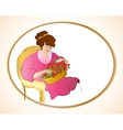 Woman on chair with flowers vector image