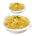 Portion of pasta with parsley on plate vector image