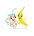 funny characters of banana and fruit smoothie