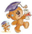 a cheerful brown teddy bear vector image vector image