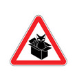 attention cat in box forbidden home pet in box vector image vector image