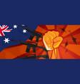 australia style war propaganda hand fist strike vector image