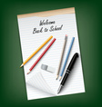 Back to School with a tear notebook and supplies vector image vector image