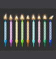 birthday cake candles candlelight fire flame set vector image