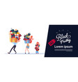 black friday poster with family carry stack of vector image