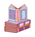 book day open textbook on books stack isolated vector image
