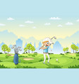boy plays golf on a golf course vector image