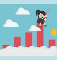 businesswoman fishing cash stock chart ideas vector image vector image