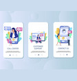 call center mobile app onboarding screens vector image vector image
