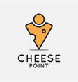 cheese location logo on white design background vector image vector image