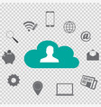 cloud computing with technology icons vector image