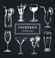 cocktails menu hand sketched alcoholic beverages vector image vector image