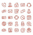contact icon set in comic style phone vector image vector image