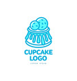 cupcake sweet dessert food bright line logo vector image vector image