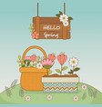 cute flowers and leafs in pot landscape scene vector image vector image