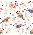 cute little folk birds pattern vector image vector image